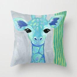 Giraffe Painting, Baby Giraffe, Blue Giraffe, Child's Room Decor, Gray Green Blue Art Throw Pillow
