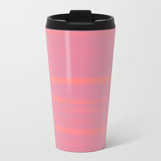 Peach Earth Lines, Pink Stripes Metal Travel Mug
