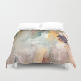 Gentle Beauty - an elegant acrylic piece in deep purple, red, gold, and white Duvet Cover