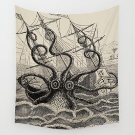 """The octopus; or, The """"Devil-fish"""" - Henry Lee - 1875 Giant Octopus Sinking Ship Wall Tapestry"""