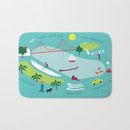 San Francisco, California - Collage Illustration by Loose Petals Bath Mat