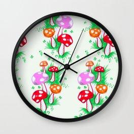 Funky Mushroom Pattern Wall Clock