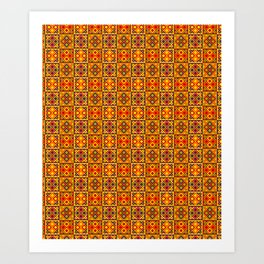 Heart of Africa Kente Cloth Pattern Print Art Print