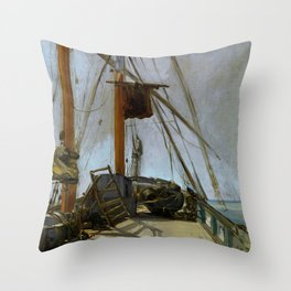 "Édouard Manet ""The ship's deck"" Throw Pillow"