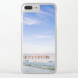 Watercolor Sunset at Okaloosa Island Pier Clear iPhone Case