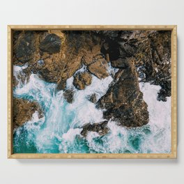 Ocean Waves Crushing On Rocky Landscape, Drone Photography, Aerial Landscape Photo, Ocean Wall Art Serving Tray