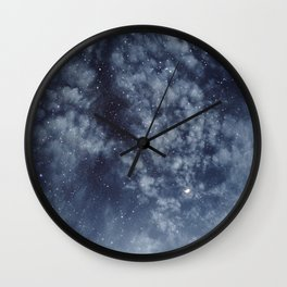 Blue veiled moon II Wall Clock