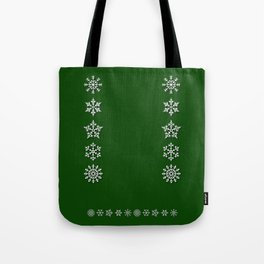 Five Diverse Snowflakes in a Row on a Green Background Tote Bag