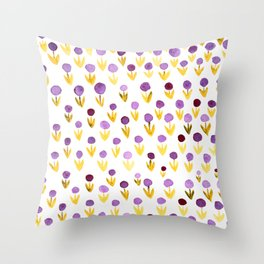 Dot flowers -  yellow and purple Throw Pillow