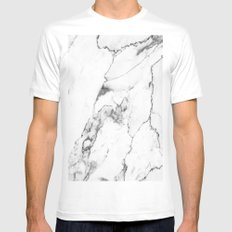 White Marble I Mens Fitted Tee White MEDIUM