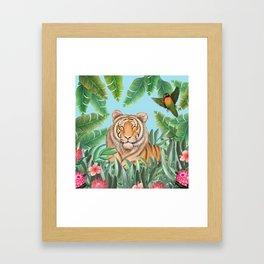 Tropical tiger jungle, tropical flowers Framed Art Print