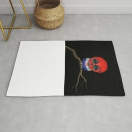 Baby Owl with Glasses and Croatian Flag Rug