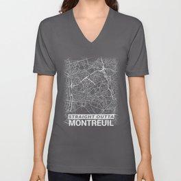 Straight Outta Montreuil France Seine-Saint-Denis City Map Tee Unisex V-Neck