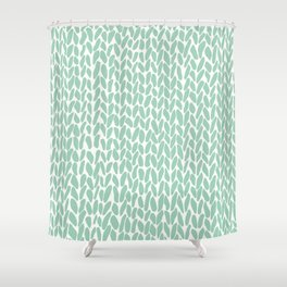 Hand Knit Zoom Mint Shower Curtain