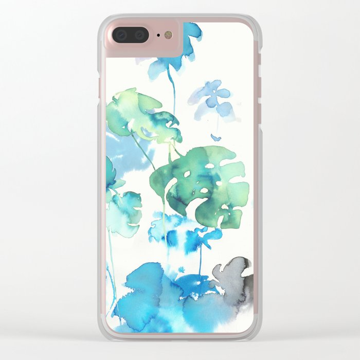 Tropical leaves (collaboration with Franciscomffonseca) Clear iPhone Case