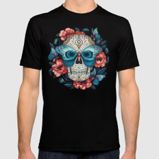 Day of the Dead Black Mens Fitted Tee MEDIUM