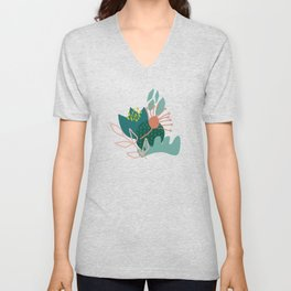 Abstract Florals in Teal Unisex V-Neck