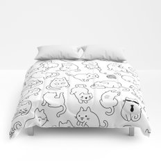 Happy Cat Pattern Black and White Comforters