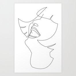 Laughing Flapper Line Art Art Print