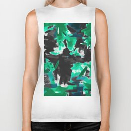 psychedelic vintage camouflage painting texture abstract in green and black Biker Tank