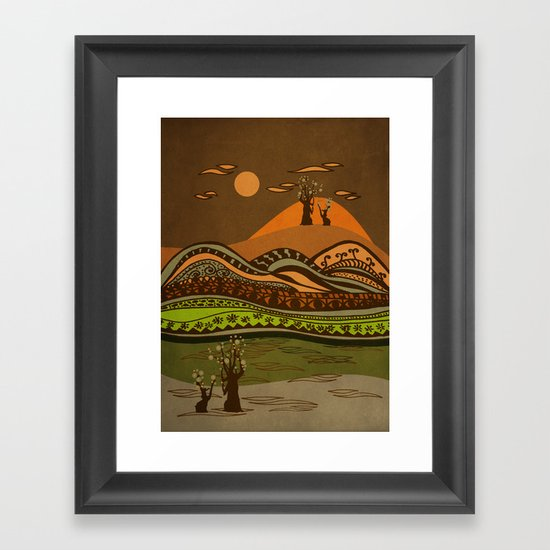 psychedelic mountains Framed Art Print