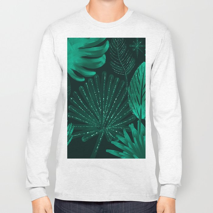 Emerald botanical - tropical ferns and palms Long Sleeve T-shirt