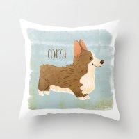 corgi Throw Pillows featuring Corgi by 52 Dogs