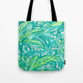 Turquoise & Lime Leaves Tote Bag