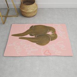 Otter Love - Valentine Otters In Pink Rug