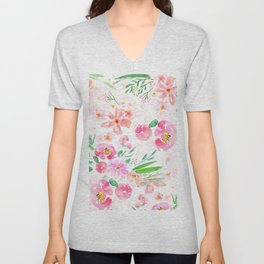 pink flowers and green leaf pattern  Unisex V-Neck