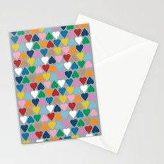 Up and Down Hearts on Grey Stationery Cards
