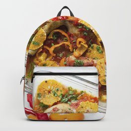 Chicken thighs with tomatoes peppers and oranges Backpack
