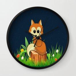 Fox Pose Wall Clock