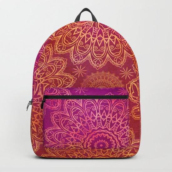 Mandala Watercolor Pattern pink orange Backpack