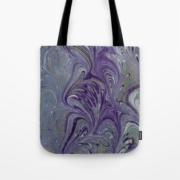 Purple, Blue, & Green Marbled Tote Bag