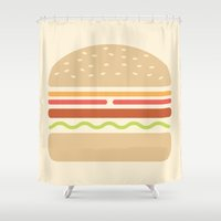 hamburger Shower Curtains featuring  #62 Hamburger by MNML Thing