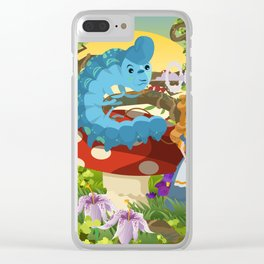 alice in wonderland and smoking caterpillar Clear iPhone Case