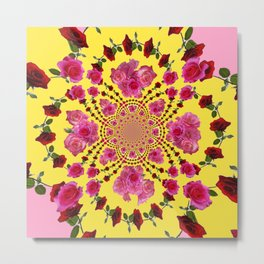 PINK-RED ROSES ON YELLOW-PINK ART Metal Print