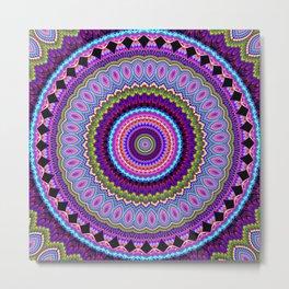 purple feathers Mandala Metal Print