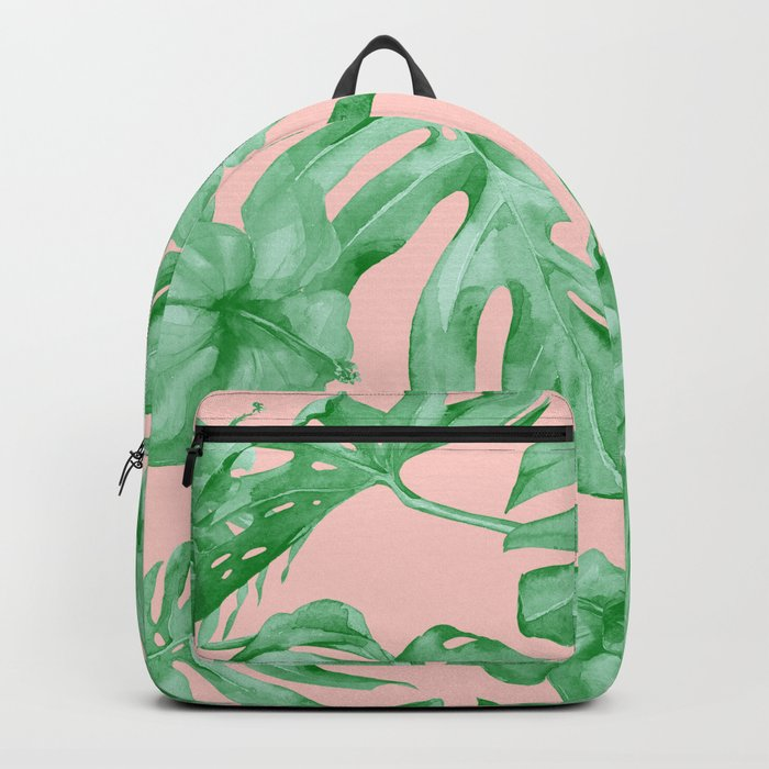 Island Life Coral Pink + Green Backpack
