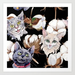 Cotton Flower & Cat Pattern on Black 01 Art Print