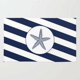 Nautical Starfish Navy Blue & White Stripes Beach Rug