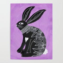 Folk Art Bunny Poster