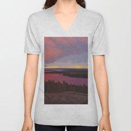Mountaintop Landscape at Dawn by Hilding Werner Unisex V-Neck