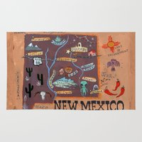 mexico Area & Throw Rugs featuring New Mexico by Christiane Engel