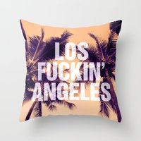 los angeles Throw Pillows featuring Los Angeles by Text Guy