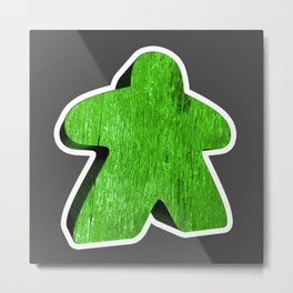 Giant Green Meeple Metal Print