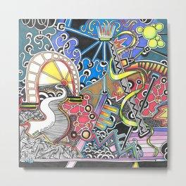 Bright Colourful Dreamscape Zendoodle Metal Print