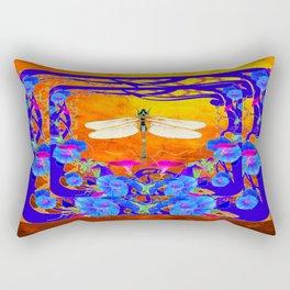 Blue Morning glories Dragonfly Golden Surreal Art Rectangular Pillow