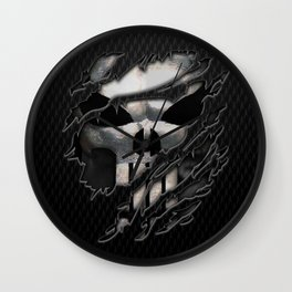 Frank Castle with chrome skull suit torn tee tshirt Wall Clock